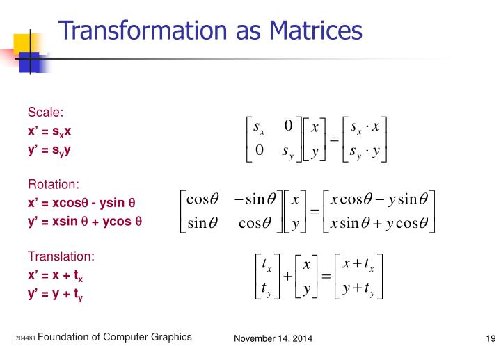 Transformation as Matrices