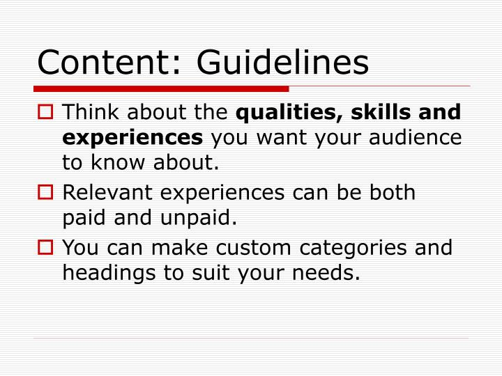 Content: Guidelines