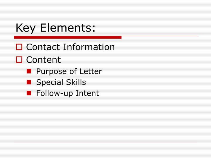 Key Elements: