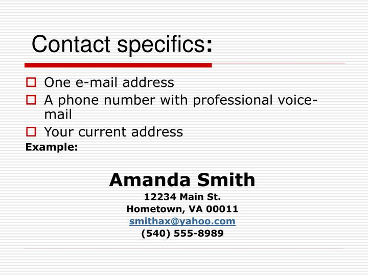 Contact specifics