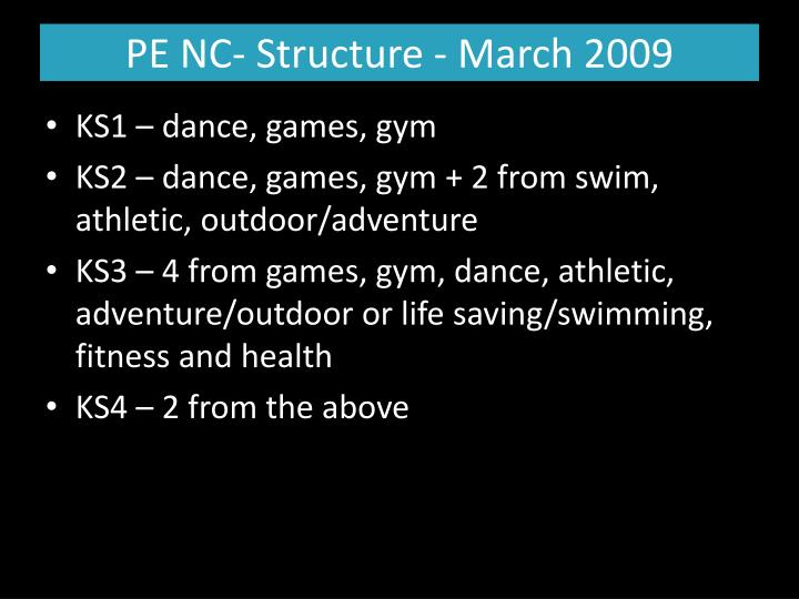 PE NC- Structure - March 2009