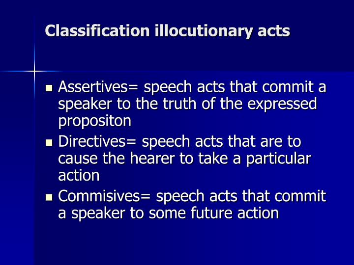 Classification illocutionary acts