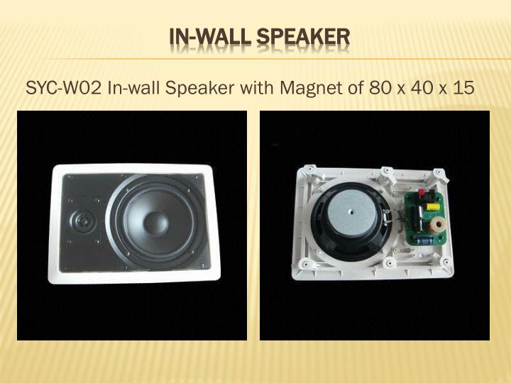 SYC-W02 In-wall Speaker with Magnet of 80 x 40 x 15