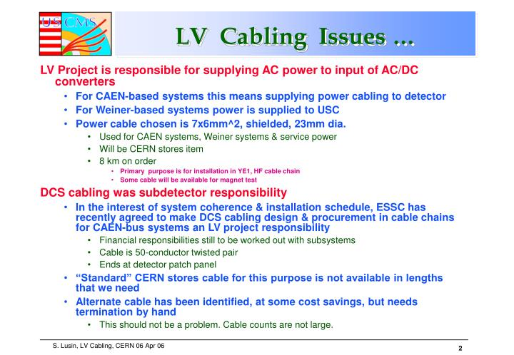 Lv cabling issues