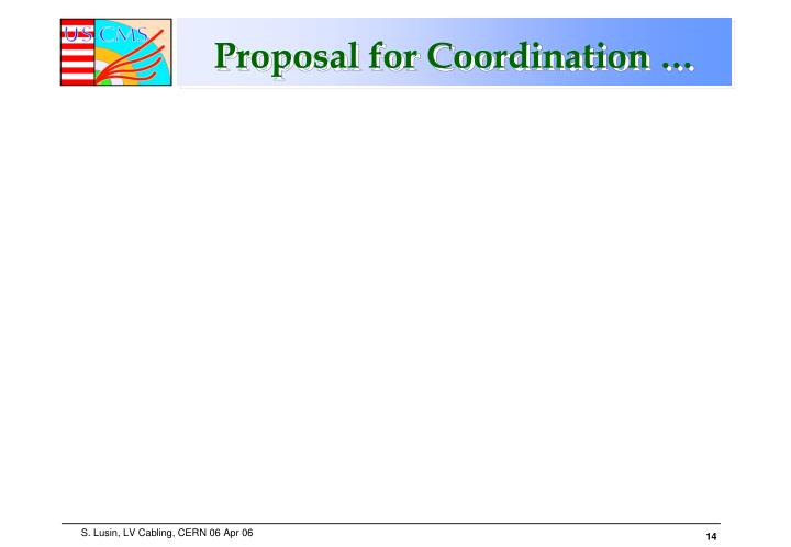 Proposal for Coordination …