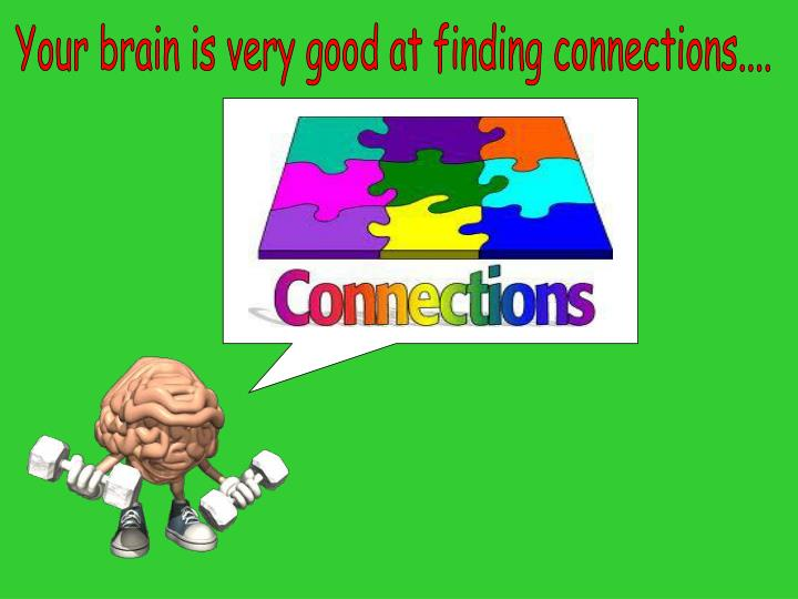 Your brain is very good at finding connections....