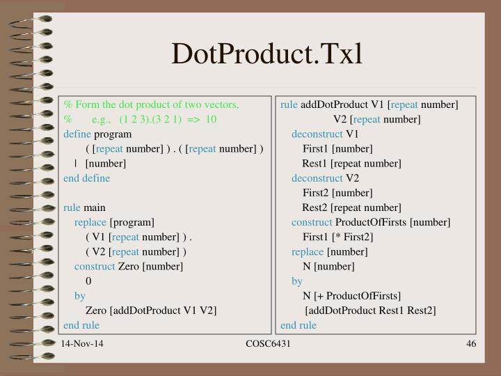 % Form the dot product of two vectors,