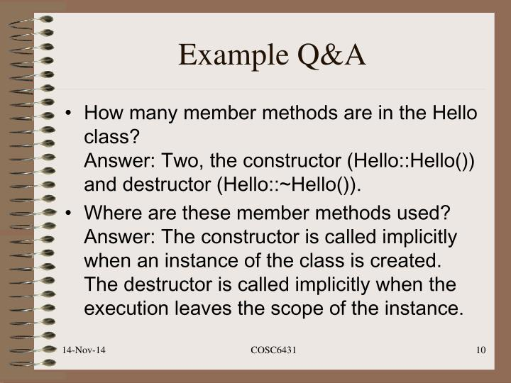 Example Q&A