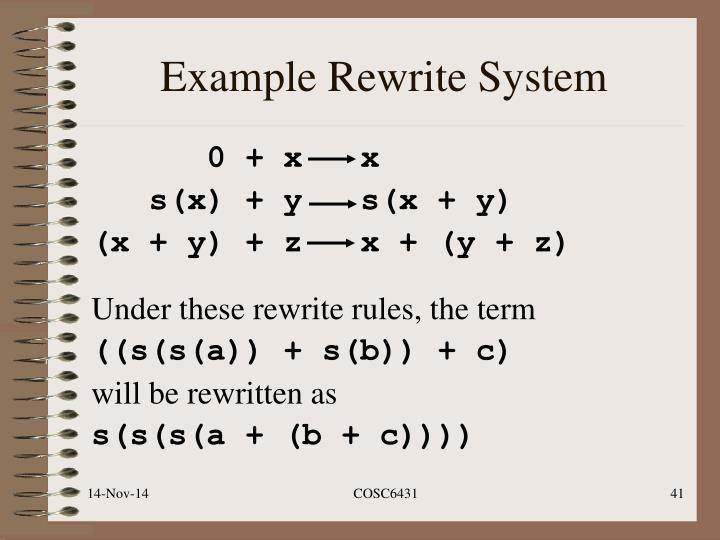 Example Rewrite System