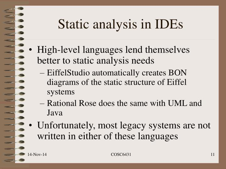 Static analysis in IDEs