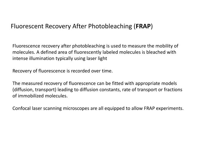 Fluorescent Recovery After Photobleaching (