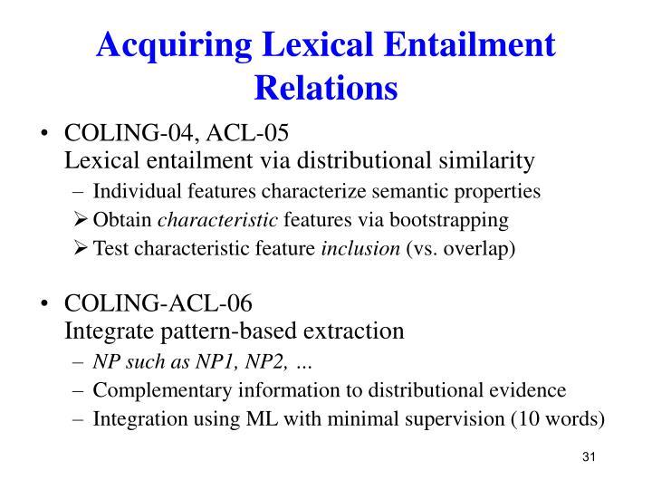 Acquiring Lexical Entailment Relations