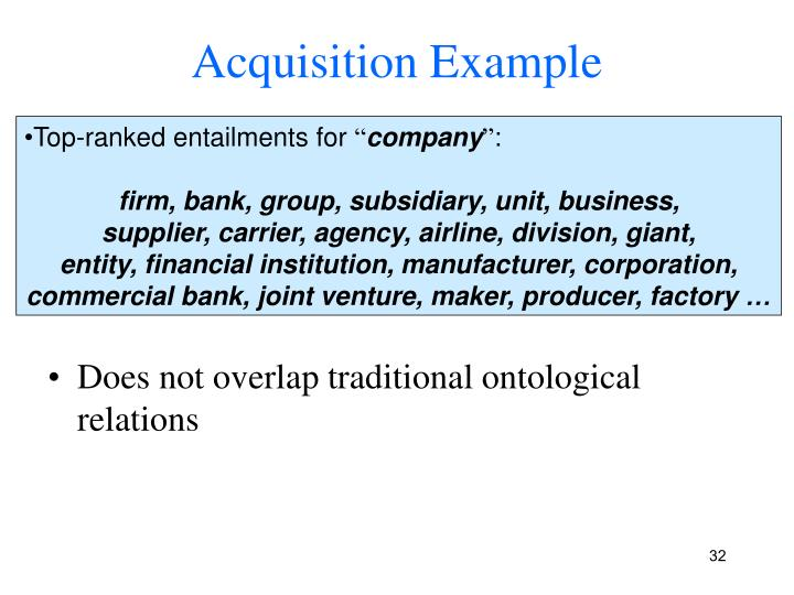 Acquisition Example