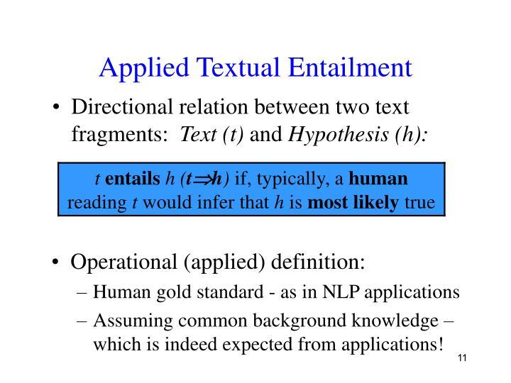 Applied Textual Entailment