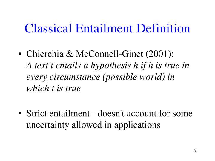 Classical Entailment Definition