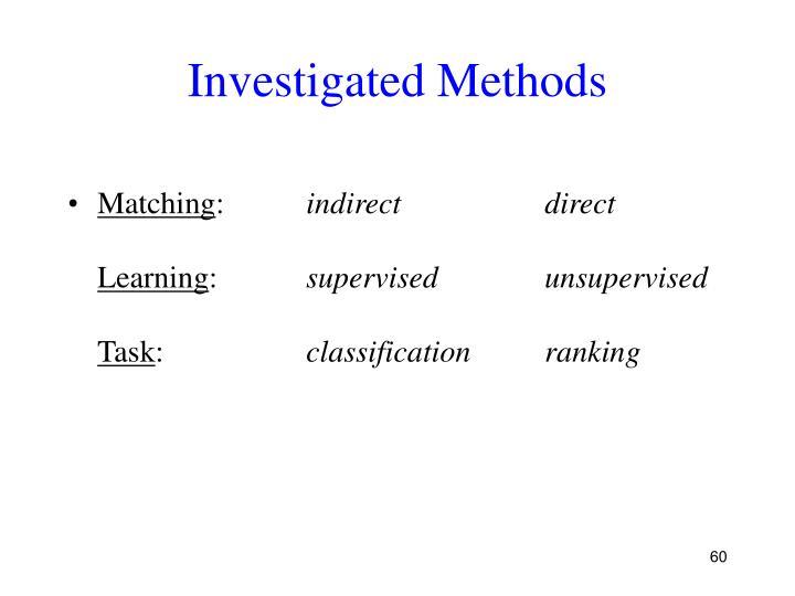 Investigated Methods