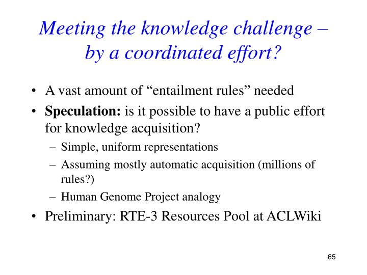 Meeting the knowledge challenge –