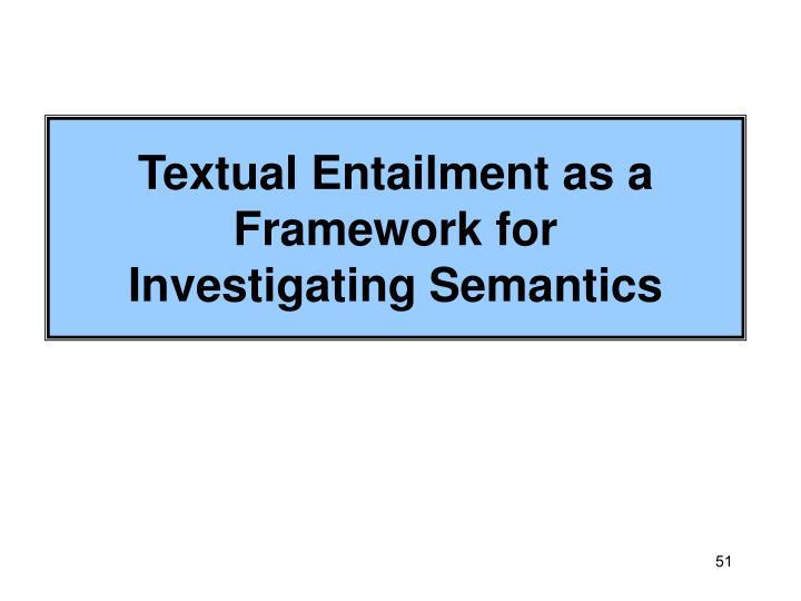 Textual Entailment as a Framework for