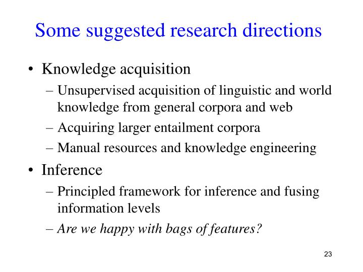 Some suggested research directions