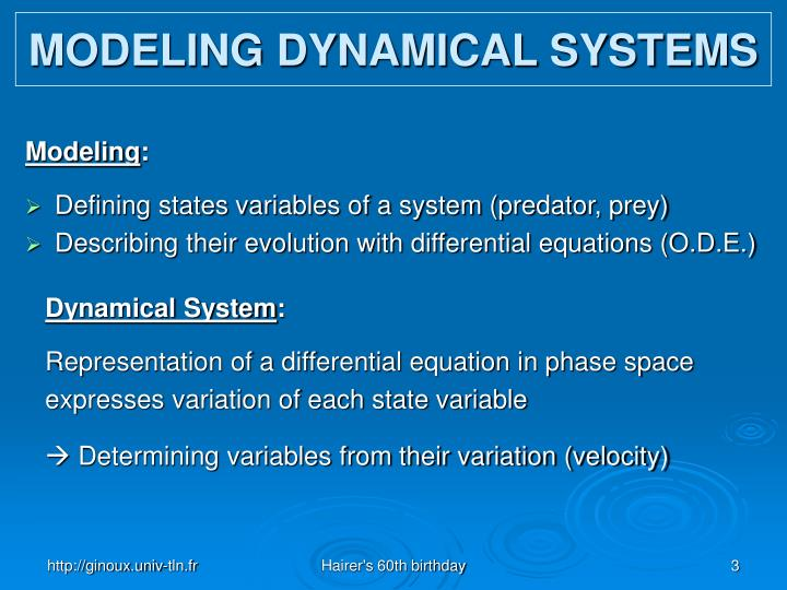 Modeling dynamical systems