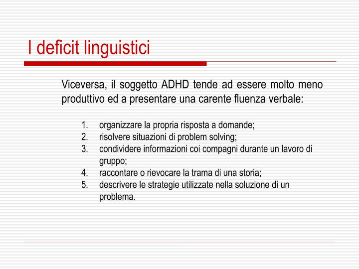 I deficit linguistici