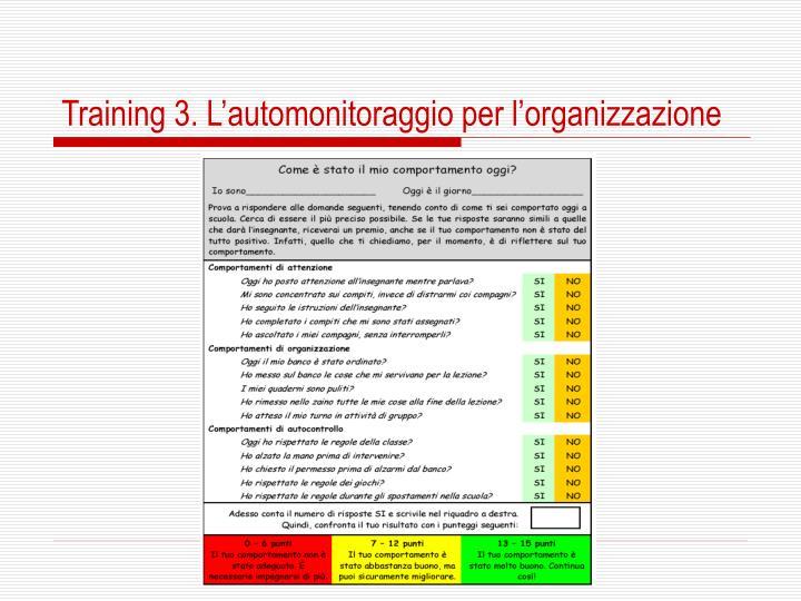 Training 3. L'automonitoraggio per l'organizzazione