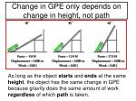 change in gpe only depends on change in height not path