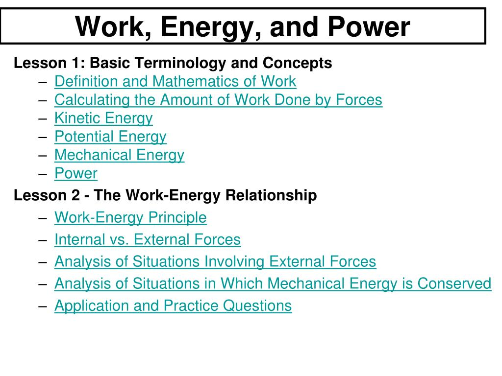 ppt - work, energy, and power powerpoint presentation - id:6613789