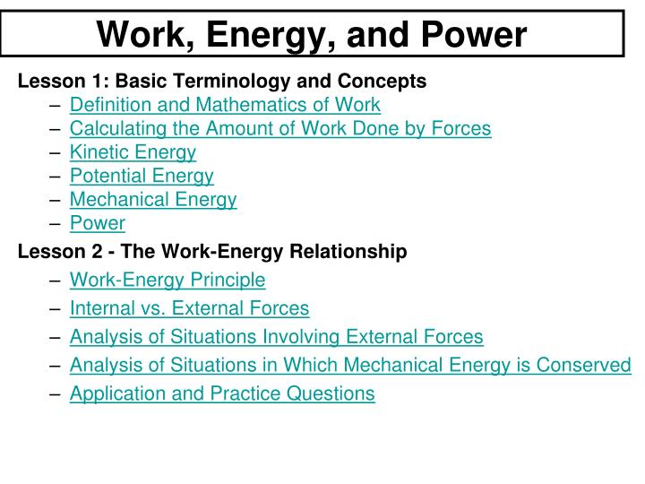 work energy and power n.