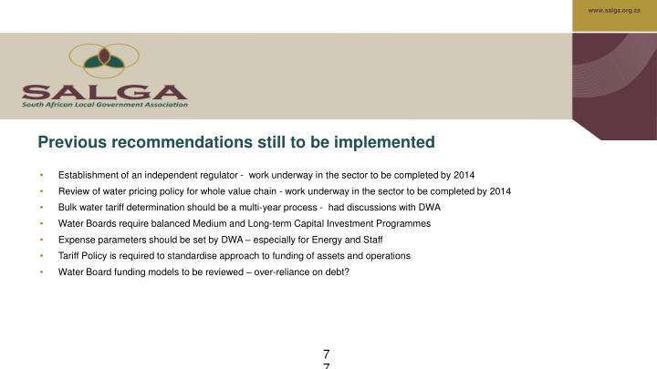 Previous recommendations still to be implemented