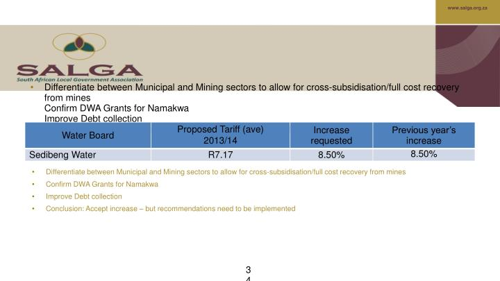 Differentiate between Municipal and Mining sectors to allow for cross-subsidisation/full cost recovery from mines