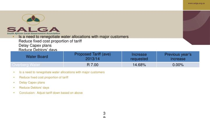 Is a need to renegotiate water allocations with major customers