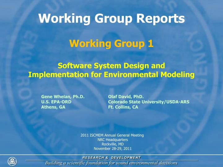 Working Group Reports