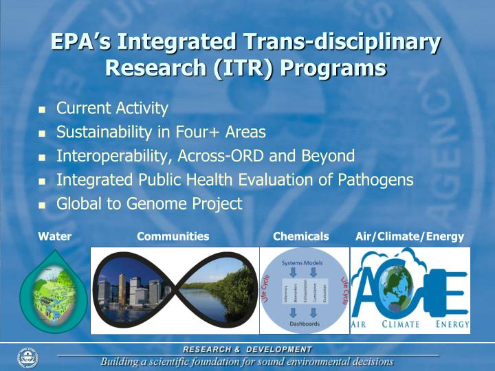 EPA's Integrated Trans-disciplinary Research (ITR) Programs