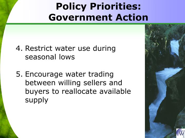 Policy Priorities: Government Action