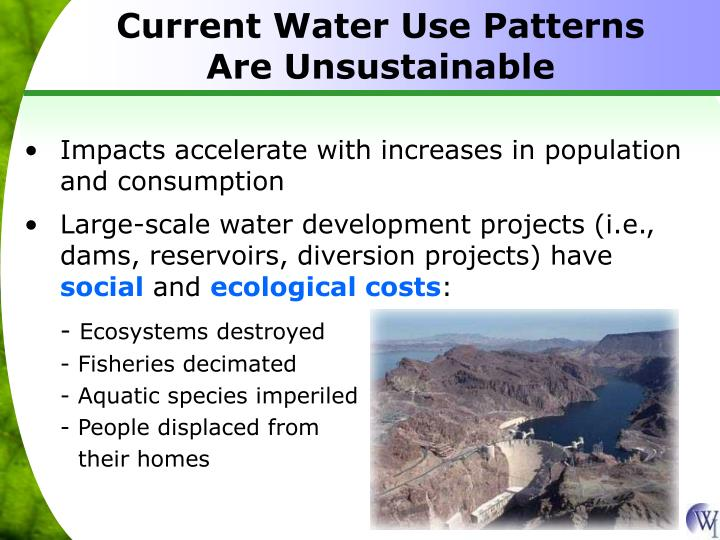 Current Water Use Patterns Are Unsustainable
