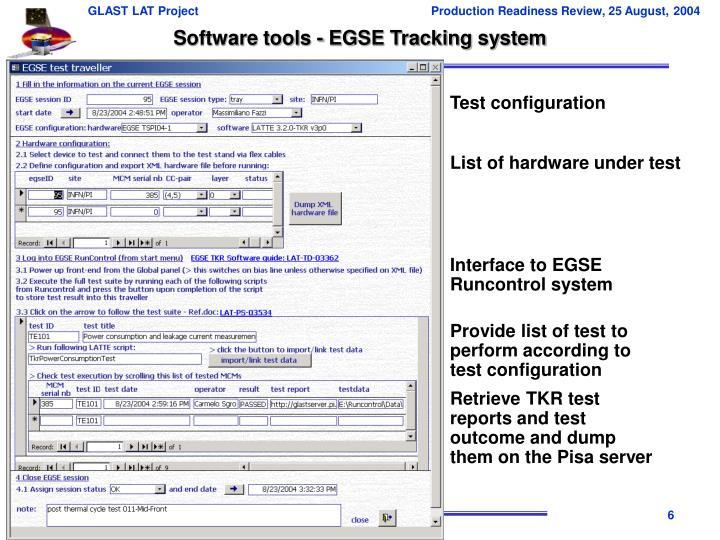 Software tools - EGSE Tracking system