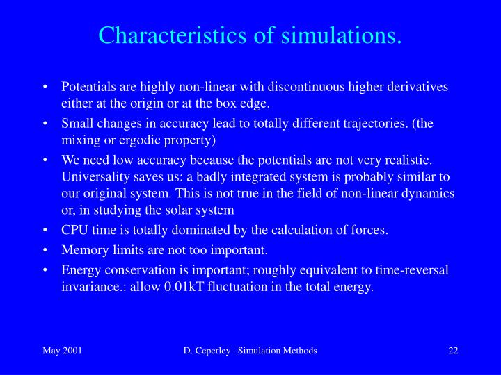 Characteristics of simulations.