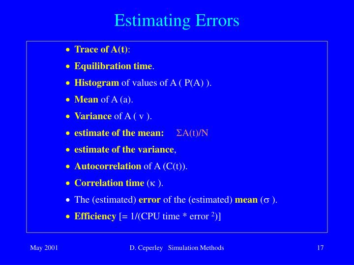 Estimating Errors