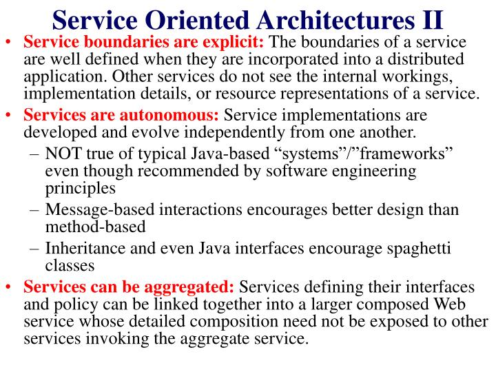 Service Oriented Architectures II