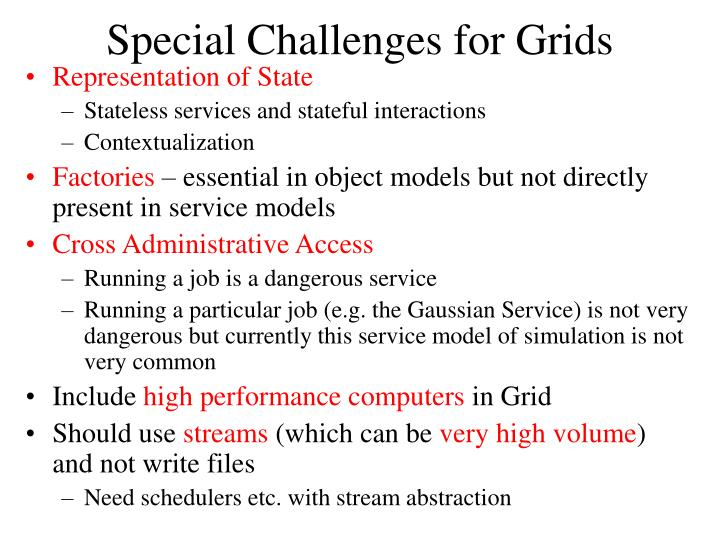Special Challenges for Grids