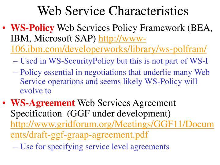 Web Service Characteristics