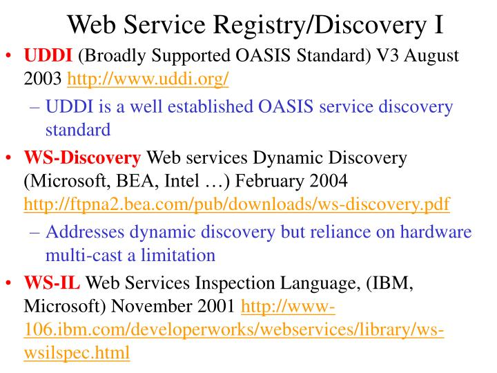 Web Service Registry/Discovery I