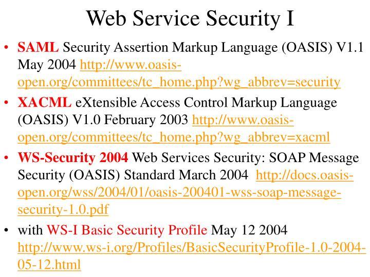 Web Service Security I