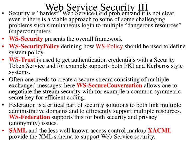 Web Service Security III