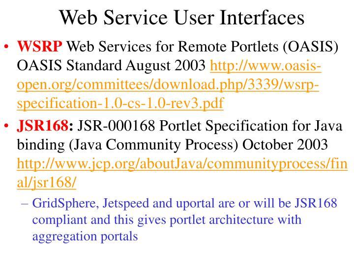 Web Service User Interfaces