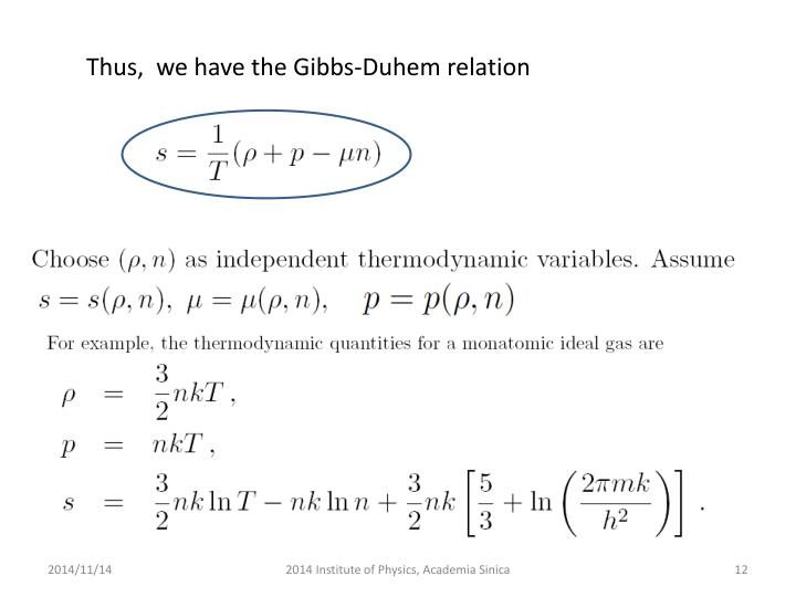 Thus,  we have the Gibbs-Duhem relation
