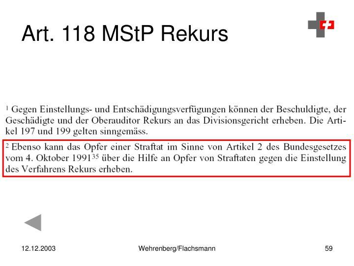 Art. 118 MStP Rekurs