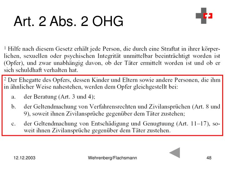 Art. 2 Abs. 2 OHG
