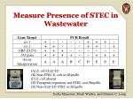measure presence of stec in wastewater